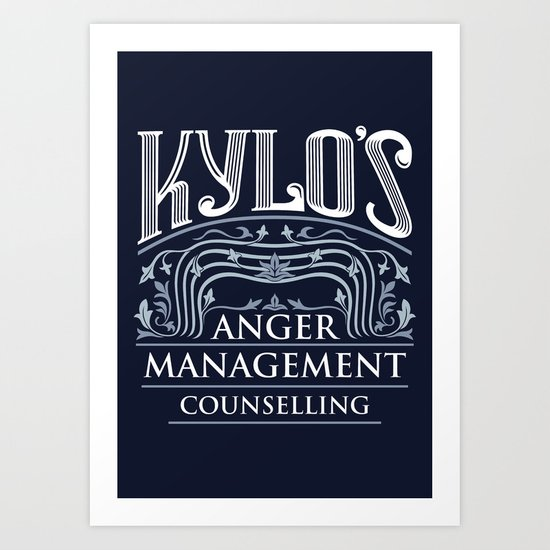 Kylo's Anger Management Counselling Art Print