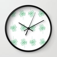 clover Wall Clocks featuring Clover by k.a.r.o.l.inka