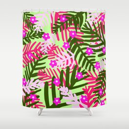 Tropical Leaves Pink and Green Shower Curtain