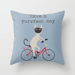 Siamese cat on bicycle Throw Pillow
