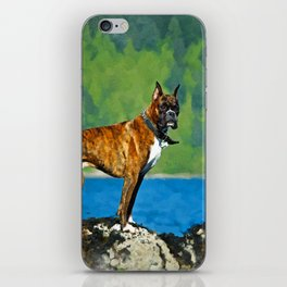 Boxer dog Watercolor Digital Art iPhone Skin