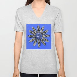 Daisy dot, blue, black, white Unisex V-Neck