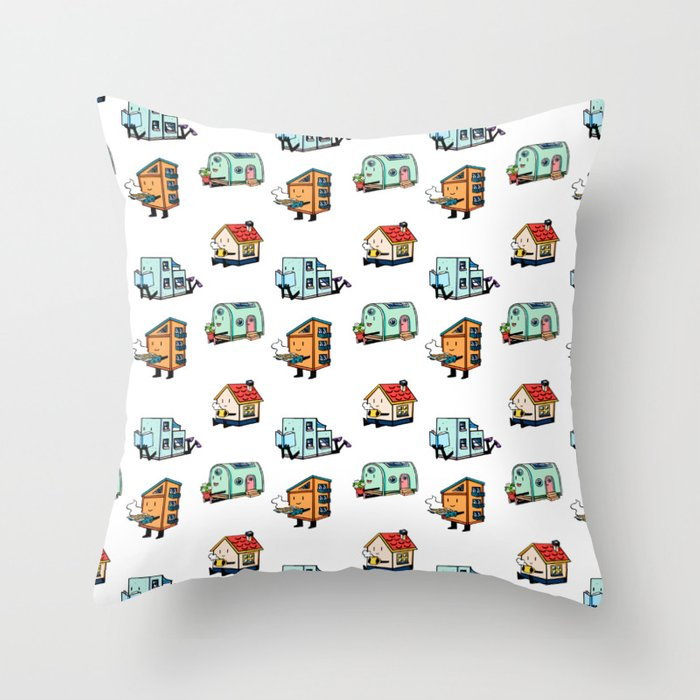 Home Bodies pattern Throw Pillow