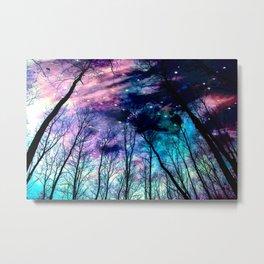 Black Trees Colorful SpacE Metal Print