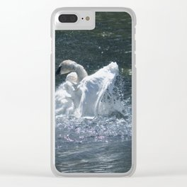 Swan's Lake - Preening Trumpeter Swan Clear iPhone Case