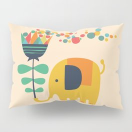 Elephant with giant flower Pillow Sham