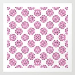 Berry pink and white circles geometric pattern Art Print