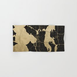 Seattle Black and Gold Map Hand & Bath Towel
