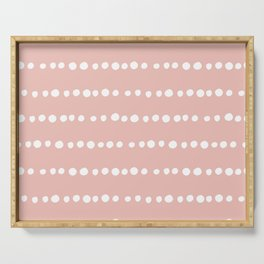 Spotted Mudcloth, Pink and White, Boho Prints Serving Tray