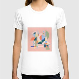 Abstract cityscape in funny geometric shapes T-shirt