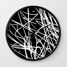 Daisy Scribble Black Wall Clock