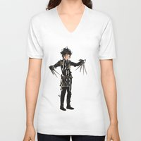 johnny depp V-neck T-shirts featuring Edward Scissorhands - Johnny Depp by Ayse Deniz