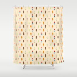 Ice Cream Pattern, Popsicles, Bomb Pops, Cones Shower Curtain