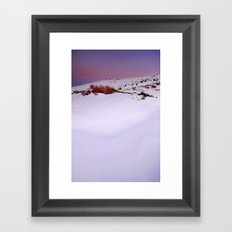Soft snow at sunset Framed Art Print