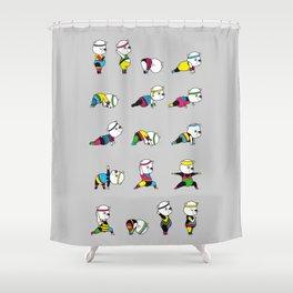 Yoga Bear - 80's Remix Shower Curtain
