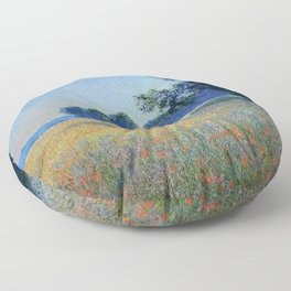 Oat and Red Poppy Fields, Giverny Landscape Painting by Claude Monet Floor Pillow