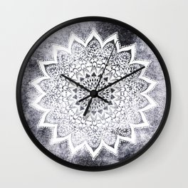 BOHO WHITE NIGHTS MANDALA Wall Clock