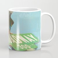 broadway Mugs featuring Beach N' Broadway by Limezinnias Design