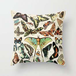 Papillon I Vintage French Butterfly Charts by Adolphe Millot Throw Pillow