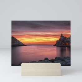 Spectacular sunset in Portovenere Mini Art Print