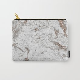 White frost - rose gold marble Carry-All Pouch