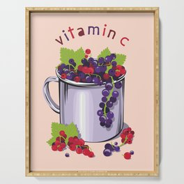 Mug with fresh black and red currant berries. Vitamin C Serving Tray