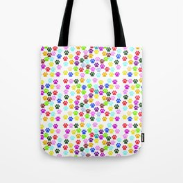 Dog Paws, Trails, Paw-prints - Red Blue Green Tote Bag