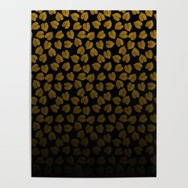 Gold Metallic Foil Photo-Effect Monstera Giant Tropical Leaves Faded on Solid Black Poster