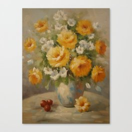 Yellow Roses & Red Berries Canvas Print