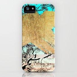 Modern tree sky blue gold brushstroke photography glitch iPhone Case