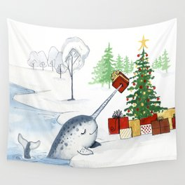 Christmas Narwhal Wall Tapestry