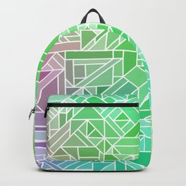 Bright Gradient (Violet Purple Lime Green Neon Yellow) Geometric Pattern Print Backpack