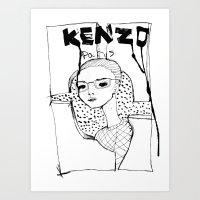 kenzo Art Prints featuring Kenzo  by Joshua Tavener