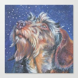 The wirehaired Dachshund dog art portrait from an original painting by L.A.Shepard Canvas Print