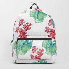 Red watercolor geranium Backpack