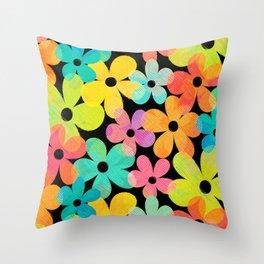 Hawaiian Holiday - Bright Textured Flowers on Black (pattern) Throw Pillow