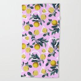 Geometric and Lemon pattern Beach Towel