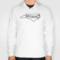 north carolina Hoodies featuring North Carolina Type Map by Painted Post