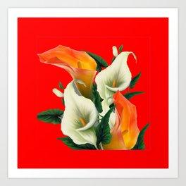 RED & WHITE-ORANGE CALLA LILIES GREY-GOLDEN GARDEN Art Print