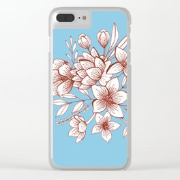 Line Flower Bouquet Clear iPhone Case