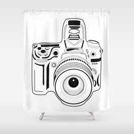 Black and White Camera Shower Curtain