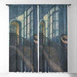 Classical Masterpiece A Kiss on the Stairs by Lionello Balestrieri, circa 1899 Blackout Curtain