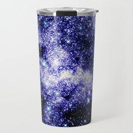 Galaxy Sparkle Stars Purple Blue Teal Travel Mug