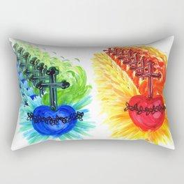 Sacred Heart, red Rectangular Pillow