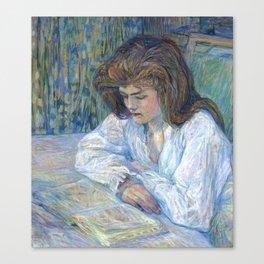 """Henri de Toulouse-Lautrec """"The Reader (La Liseuse)"""" Canvas Print"""