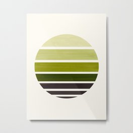 Olive Green Mid Century Modern Minimalist Circle Round Photo Staggered Sunset Geometric Stripe Desig Metal Print