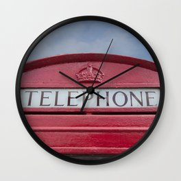 Red telephone box Wall Clock