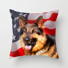 German shepherd Dog Patriot Red Blue White Throw Pillow