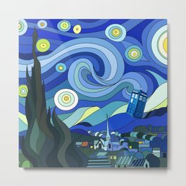 Tardis Art Starry Night Metal Print
