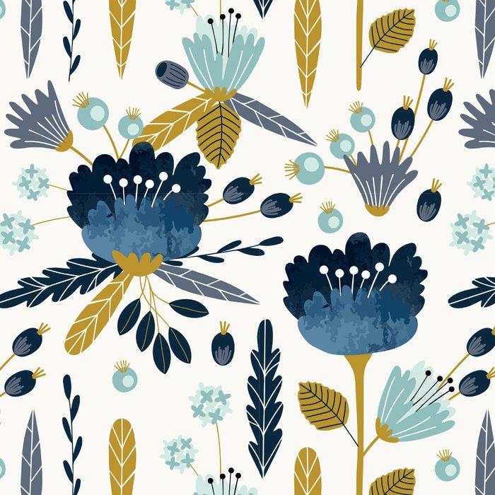Acuarela Blue Flowers Pattern Leggings